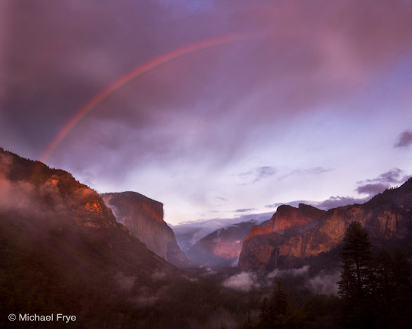 Rainbow over Yosemite Valley from Tunnel View, October 4th, 2008