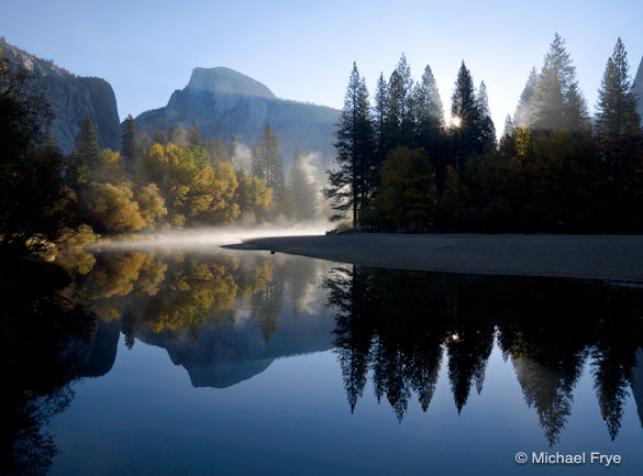 Autumn Sunrise, Half Dome and the Merced River; available as a poster or matted print