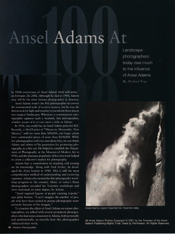 Ansel Adams at 100, from Outdoor Photographer magazine, February 2002