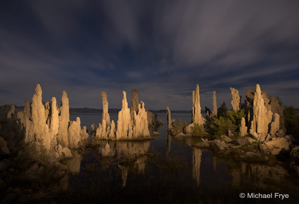 Moonlit clouds and light-painted tufas, Mono Lake