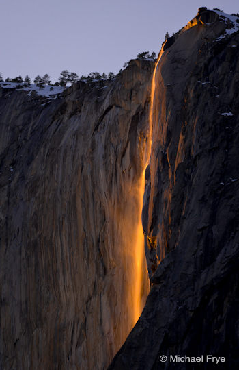 "Horsetail Fall from ""Rowell's View"" near Northside Drive, February 19th, 2009, 5:29 p.m."