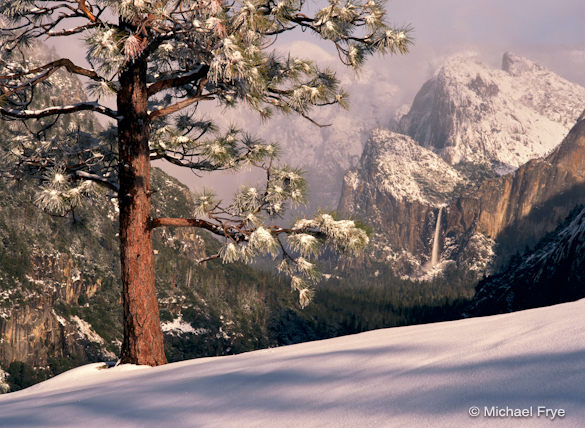 February light on Bridalveil Fall from near Turtleback Dome