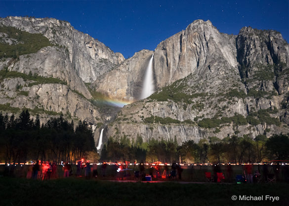 Photographers under the lunar rainbow in Cook's Meadow, May 5th