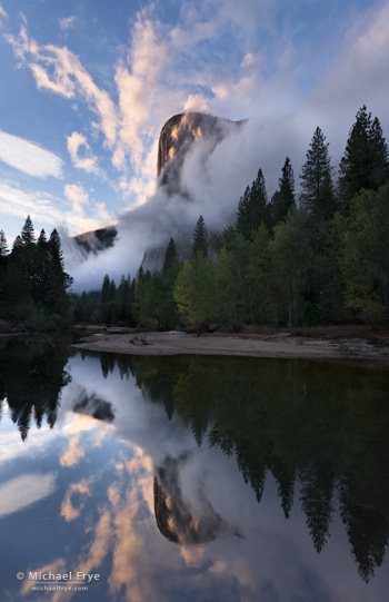 Cloud formations, El Capitan and the Merced River, Yosemite