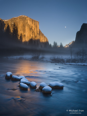 A January moonrise from Valley View, Yosemite