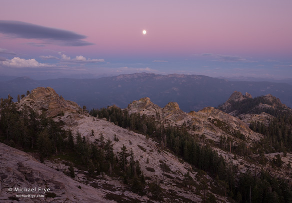 Moonrise over the Sierra Nevada and Kaiser Wilderness from Shuteye Peak