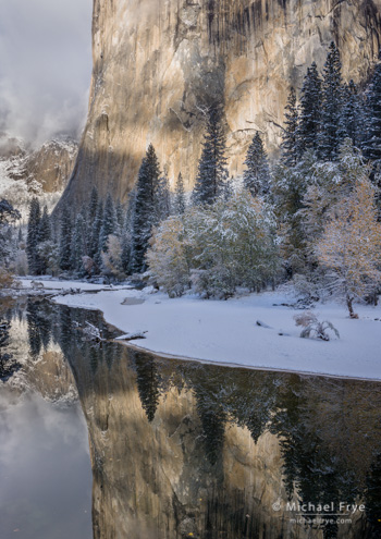 El Capitan reflected in the Merced River, Saturday, 8:21 a.m.