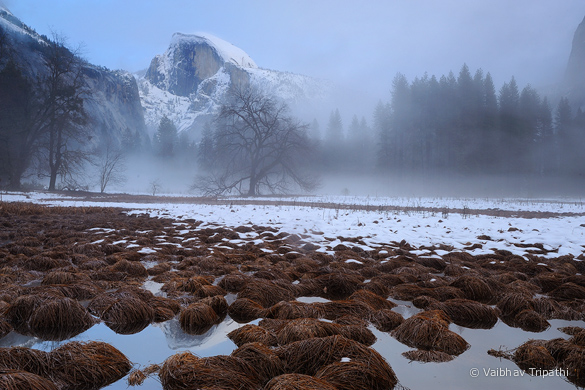 """Winter Mist Rising Beneath Half Dome,"" by Vaibhav Tripathi"