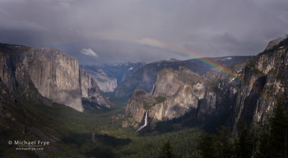 Rainbow over Yosemite Valley from near Old Inspiration Point, Yosemite NP, CA, USA