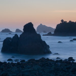 Sea stacks at sunset, Crescent City, CA, USA