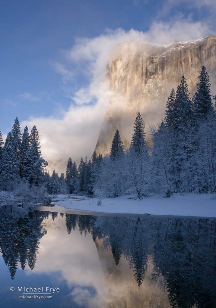 Clearing storm, El Capitan and the Merced River, winter, Yosemite. This image has both light-against-dark and dark-against-light juxtapositions.
