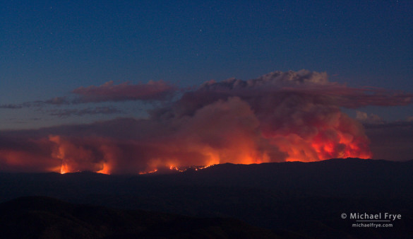 The Rim Fire at dusk, 8/21/13, from a viewpoint near Mariposa