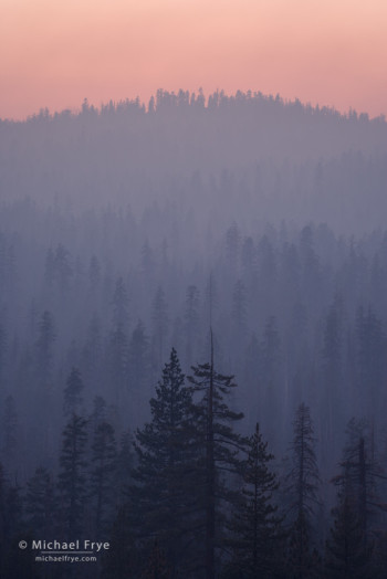 Pastel-colored smoke from the Rim Fire at sunset, 8/26/13, Yosemite NP, CA, USA