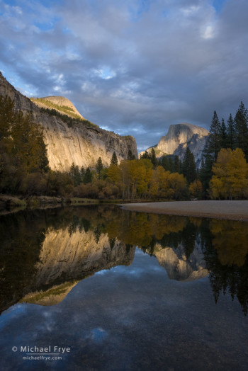 Half Dome and the Merced River, late afternoon, autumn, Yosemite NP, CA, USA