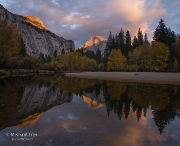 Half Dome and the Merced River at sunset, Yosemite NP, CA, USA