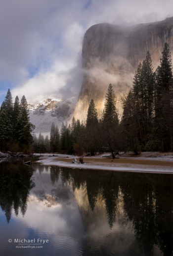 El Capitan and the Merced River during a clearing storm, Yosemite NP, CA, USA