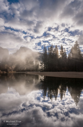 Misty sunrise, Half Dome, Merced River, and clouds, Yosemite NP, CA, USA