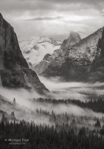 Half Dome and Yosemite Valley with fog, Yosemite NP, CA, USA