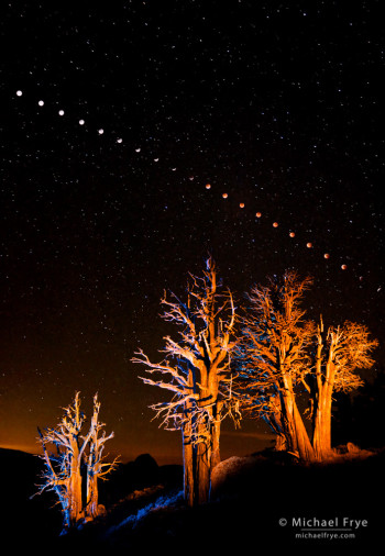 Lunar Eclipse Sequence, 1:23 a.m. to 4:49 a.m., August 28, 2007, Yosemite NP, CA