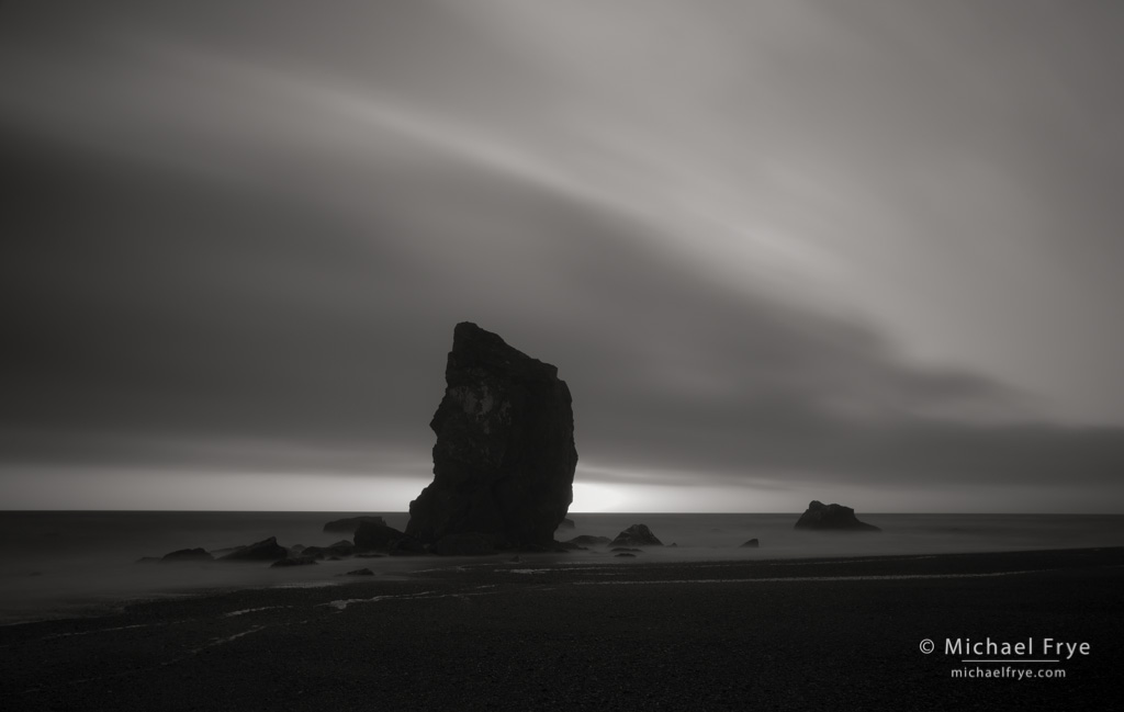 Sea stacks at dusk, Redwood NP, CA, USA