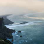 Fog and waves at the mouth of the Klamath River, Redwood NP, CA, USA