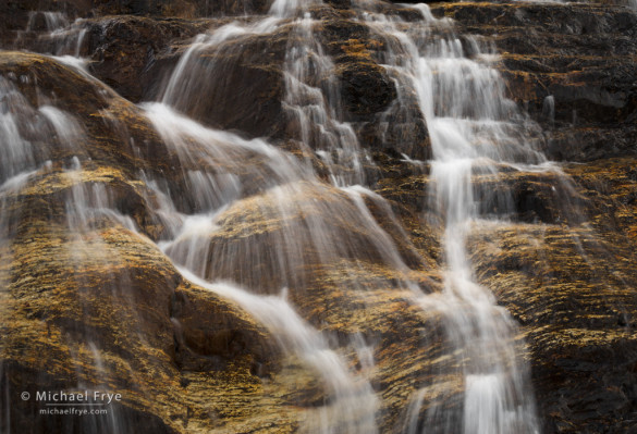 Cascade with gold-colored rock, eastern Sierra, Inyo NF, CA, USA