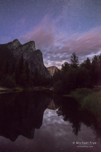 Stars and clouds over Three Brothers, Yosemite NP, CA, USA