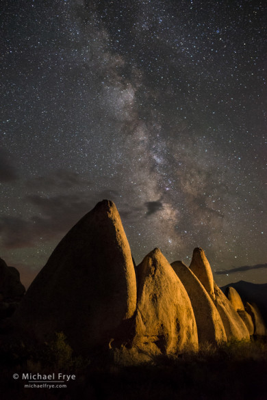 Milky Way over granite rock formations, Rattlesnake Gulch, Mono County, CA, USA