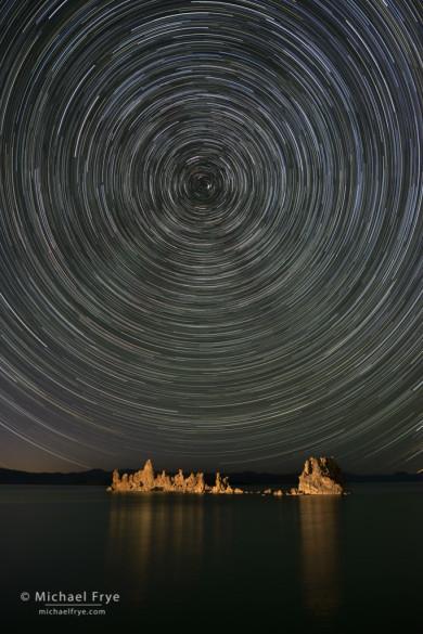 Tufa and star trails, Mono Lake, CA, USA