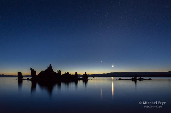 Venus, Jupiter, and the Moon rising at dawn, Mono Lake, CA, USA