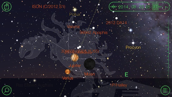 Star Walk screenshot, showing the position of Venus, Jupiter, and the moon on the morning of August 23rd