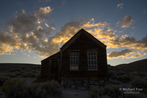 Metzger House at sunset, Bodie SHP, CA, USA