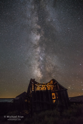 """Swayback"" building at night, Bodie SHP, CA, USA"