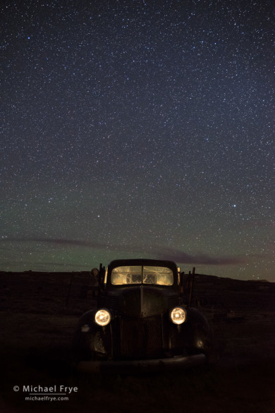 Abandoned truck at night, Bodie SHP, CA, USA
