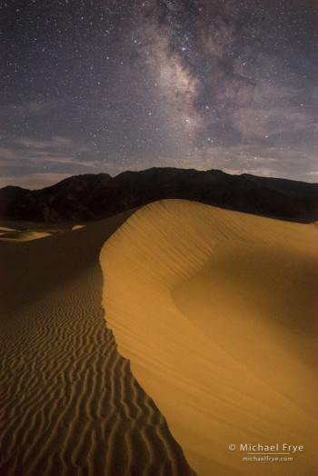 Moonlit sand dunes and the Milky Way, Death Valley NP, CA, USA