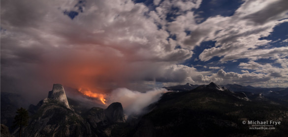 Meadow Fire burning in Little Yosemite Valley at night, with Half Dome on the left, Yosemite NP, CA, USA; 9-7-14