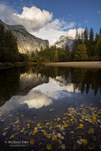 Half Dome and clouds reflected in the Merced River, autumn, Yosemite NP, CA, USA