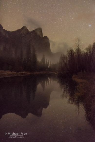 Three Brothers and the Merced River at night, Yosemite NP, CA, USA