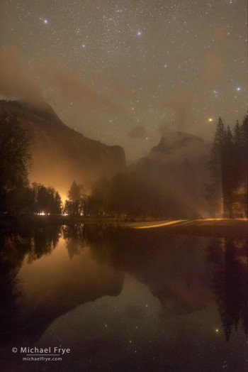 Half Dome, North Dome, and the Merced River at night, with illumination by car headlights, Yosemite NP, CA, USA