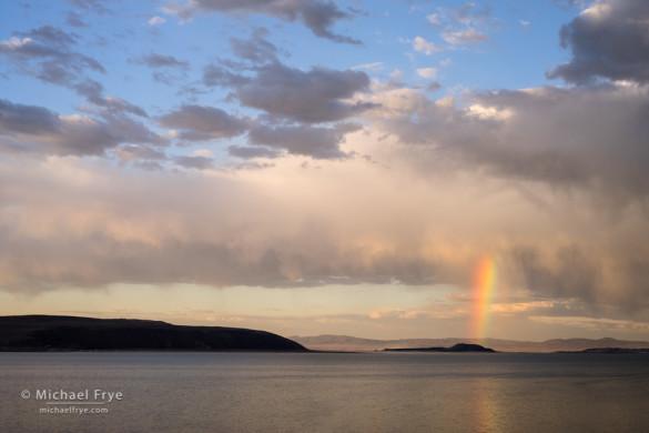 Rainbow over Negit Island, Mono Lake, CA, USA