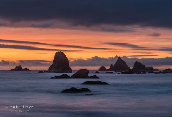Sea stacks at sunset , Redwood NP, CA, USA