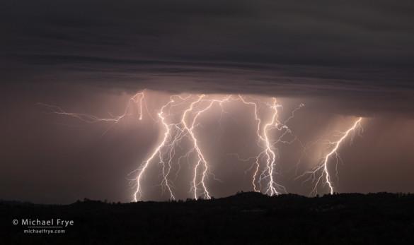 Lightning over the Sierra Nevada foothills, Mariposa County, CA, USA