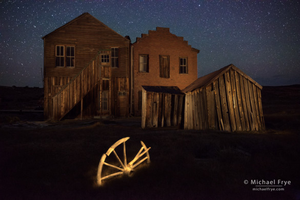 Wagon wheel behind the Dechambeau Hotel, Bodie State Historic Park, CA, USA