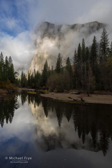 El Capitan, mist, and the Merced River, Yosemite NP, CA, USA