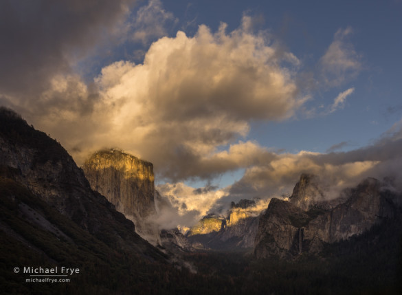 Clouds and mist at sunset from Tunnel View, Yosemite NP, CA, USA