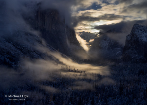 Yosemite Valley illuminated by the rising moon, Yosemite NP, CA, USA