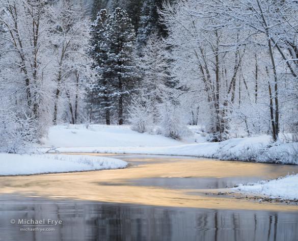 Reflections along the Merced River, winter, Yosemite NP, CA, USA