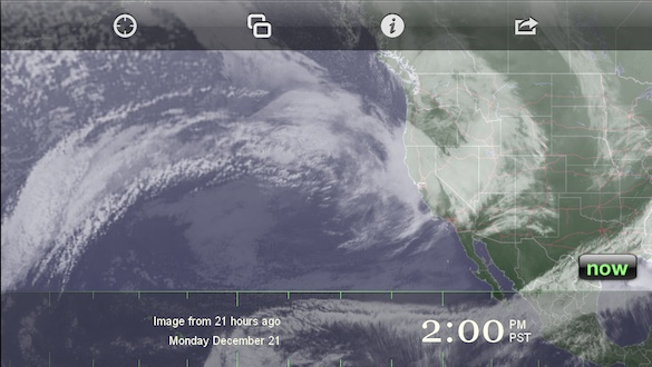 "The ""atmospheric river"" aimed at northern California at 2:00 p.m. yesterday"