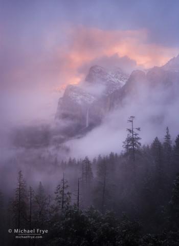 Misty sunset over Bridalveil Fall, Yosemite NP, CA, USA