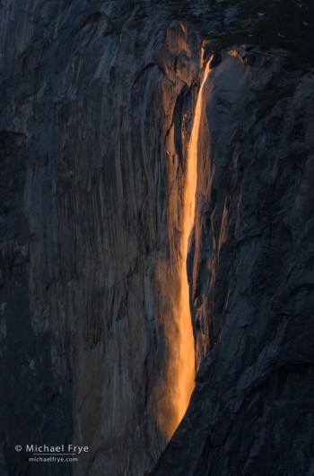 Horsetail Fall backlit at sunset, Yosemite NP, CA, USA